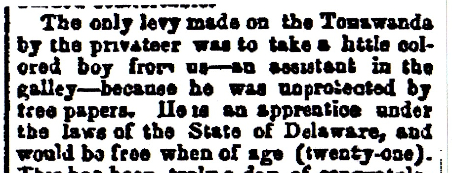 Excerpt from the New York Herald 1862 article concerning David White