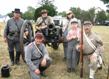 'Delaware Grays' in encampment with the 1st Richmond Artillery (from Georgetown, Delaware) while at the town of Ellendale's 100th Anniversary. Left to right: Wes, Dave (kneeling), Gill, Jeffery, Jacob, and John (kneeling)