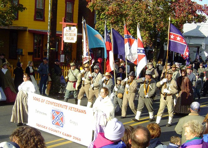 Delaware Grays Color Guard marching in the Gettysburg Remebrance Day Parade