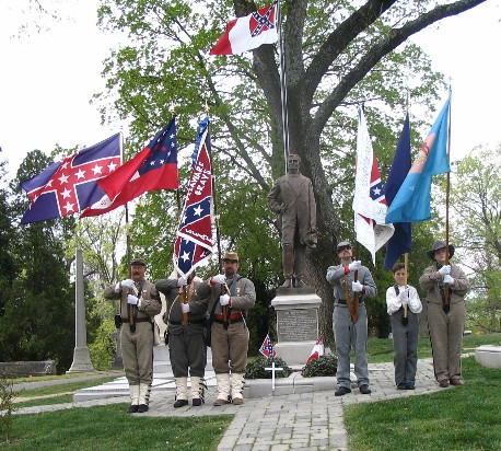 'Delaware Grays' SCV Camp 2068 color guard presenting Southern colors during memorial to Jeff Davis; April 8th, 2006