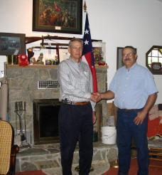 Great-grandson of Samuel B. Hearn, Mr. William Bruce, of Tennessee, visits the Hearn ancestrial state of Delaware on July 28th, 2005. He is seen shaking hands with Delaware Grays SCV Camp Commander Mr. John Zoch Sr. while on his visit through Delaware.